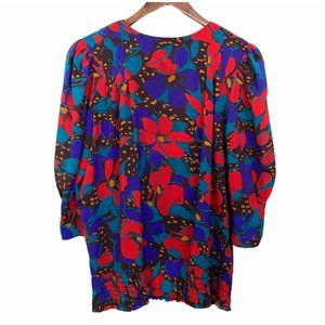 Vintage Colorful Floral Smocked Puff Sleeve Blouse